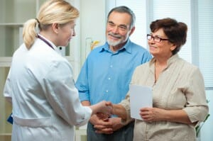 Doctor telling patients about colorectal cancer