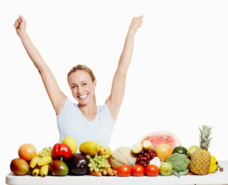 Woman enjoying healthy food