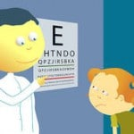 Cartoon of an eye doctor and a child