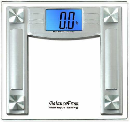"BalanceFrom High Accuracy Digital Bathroom Scale with 4.3″ Extra Large Cool Blue Backlight Display and ""Smart Step-On"" Technology [NEWEST VERSION] (Silver)"