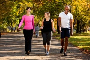 Burning calories by walking