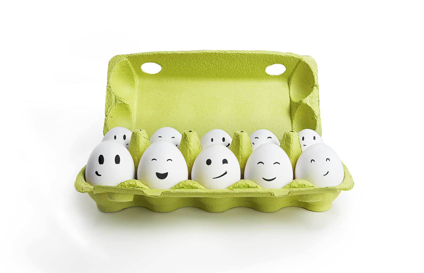 Eggs with smiling faces