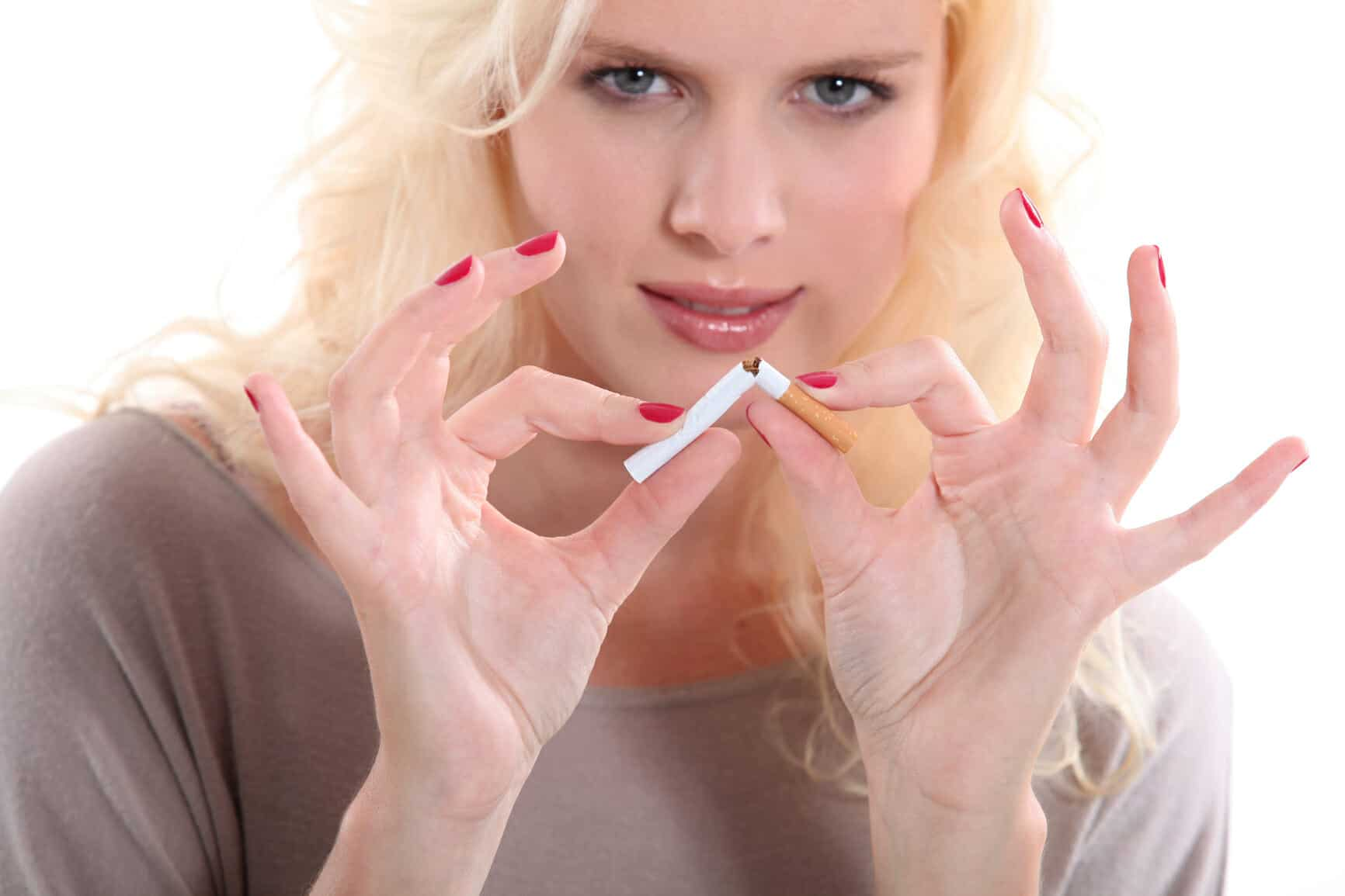 Blond woman giving up smoking