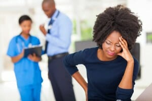 A lady having headache