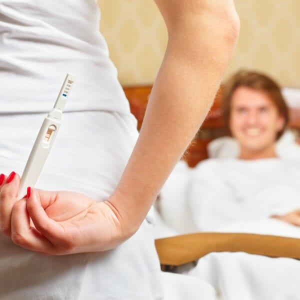 A lady hiding her pregnancy test