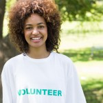 Confident female volunteer