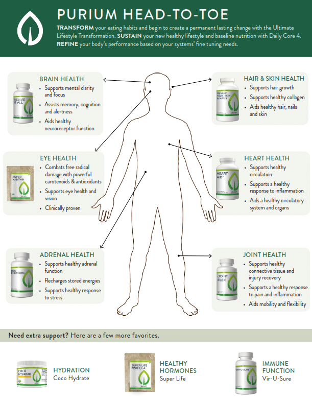 purium head to toe image of products